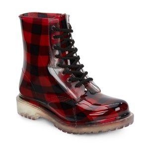 Dirty Laundry plaid lace up rain boots sz 7